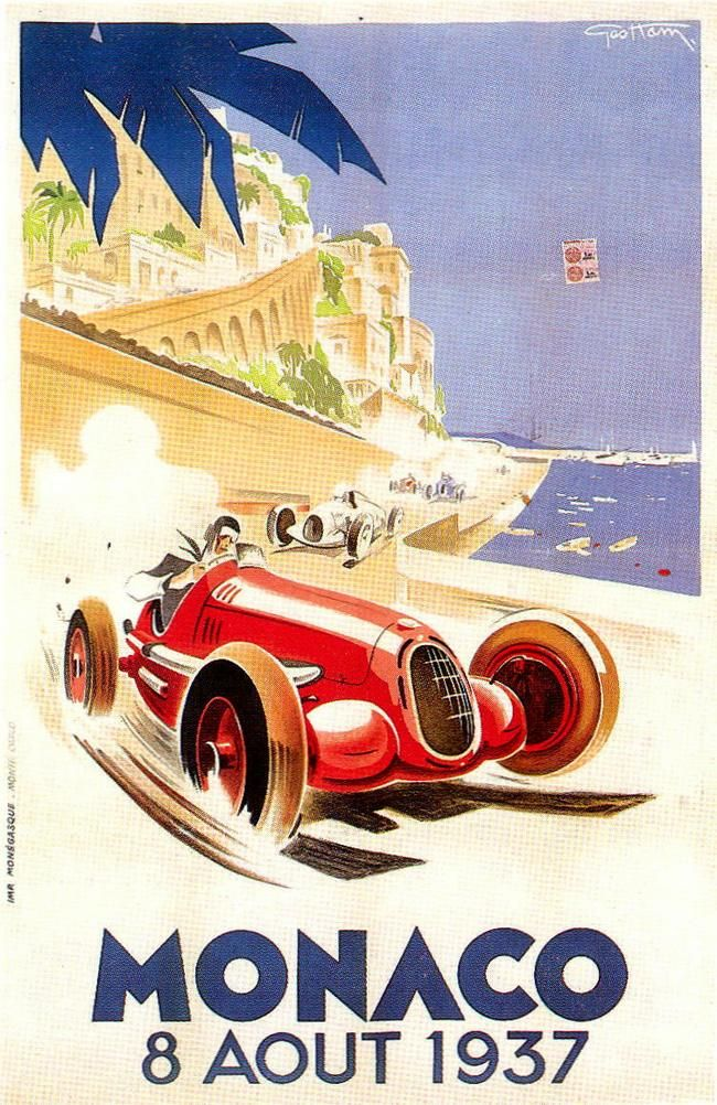 """Affiche grand prix de Monaco 1937 Geo Ham """"Georges Hamel"""" (1900-1972) simi25"""