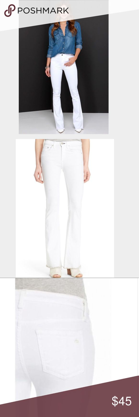 rag & bone || beach white high rise leggings ❗️DEFECT! SEE PICS❗️Summer may not be endless, but your legs look it in figure-flattering high-rise jeans cut slim through the thigh before flaring out into a retro-chic bell-bottom silhouette below the knee. Casual frayed cuffs finish this pristine white style, which you'll reach for time and time again for your favorite warm-weather looks. Zip fly with button closure Five-pocket style. 43% viscose, 33% cotton, 17% Tencel(R) lyocell, 5%…