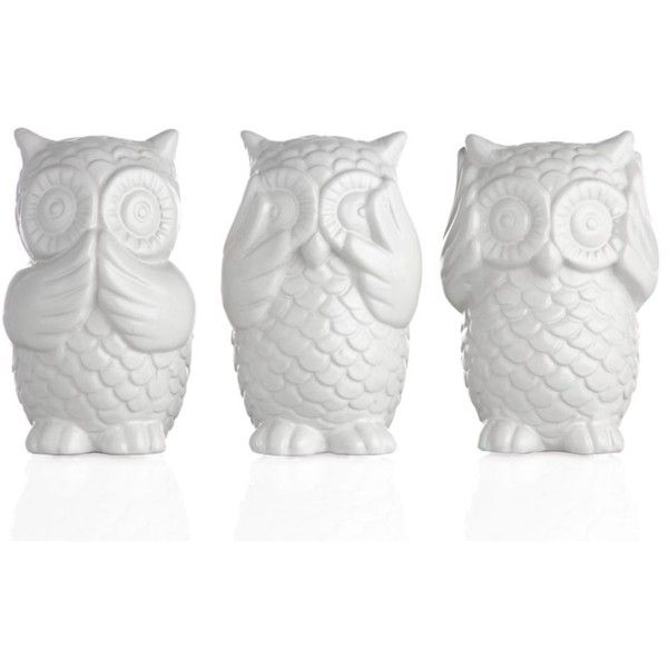 Inspired by the Japanese folk tale of the three wise monkeys, our Three Wise Owls reminds us to be of good mind, action and speech. Cast out of ceramic and fini...