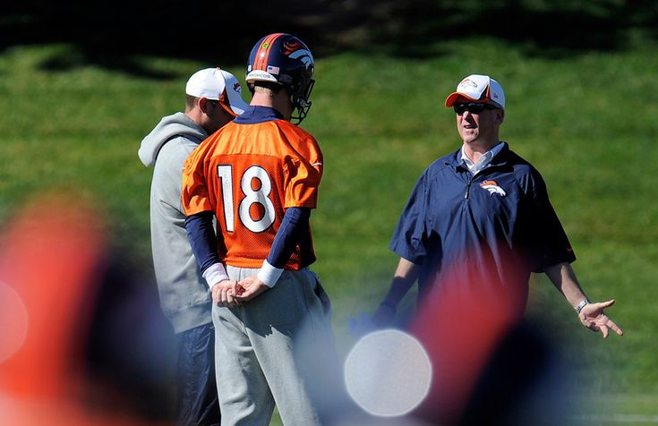 Denver Broncos quarterback Peyton Manning (18) talks with Denver Broncos head coach John Fox and Adam Gase during practice October 23, 2013 ...   #ProFootballDenverBroncos