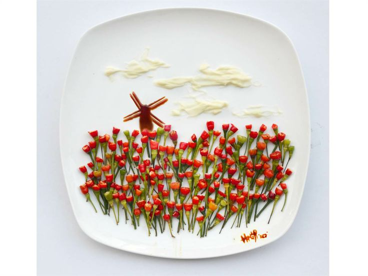 """This tulip field was inspired by the semester that Red spent studying art in Holland, where she says the sight of the blooms is """"still one of the most beautiful things I've seen in my life."""" But these flowers didn't come from the Netherlands — she made them out of tiny chili peppers."""