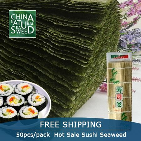 wholesale high Quality Seaweed,nori for sushi Japanese nori sushi ,50pcs/set +Bamboo rolling mats nori tools top selling