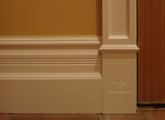 Stacked Base Molding Idea With Column Door Trim