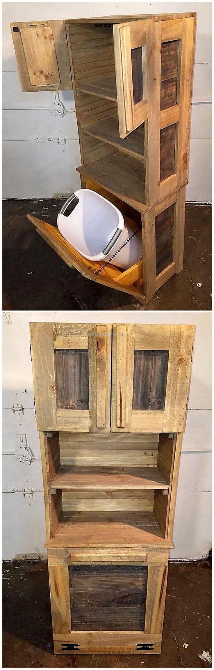 pallets Tilt out trash bin cabinet combo