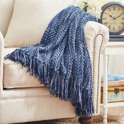 Three Posts Bella Throw Blanket Color: Navy