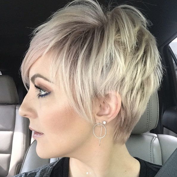 Choppy layered pixie by Emily Anderson