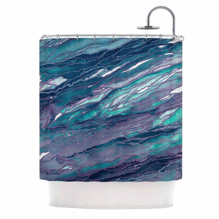 "Ebi Emporium ""Agate Magic - Lilac Teal"" Blue Lavender Shower Curtain from KESS InHouse"