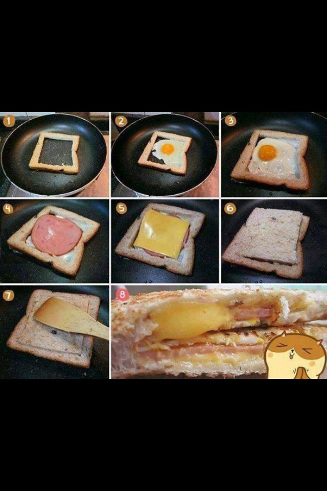 Great breakfast idea!! An egg in a nest taken to the next level!