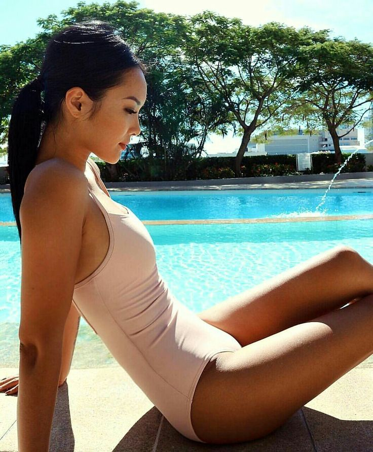 Nice asian girl by the pool and she wears pink swimsuit #asiangirl