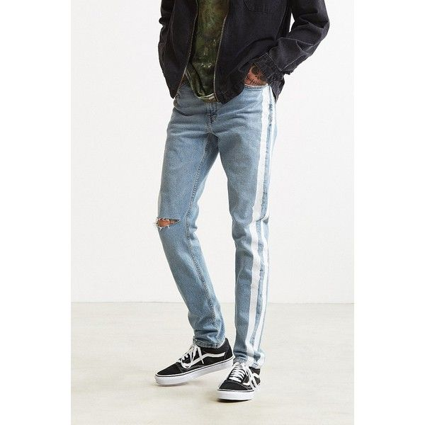 BDG X Urban Renewal Side Stripe Painted Skinny Jean ($99) ❤ liked on Polyvore featuring men's fashion, men's clothing, men's jeans, mens urban jeans, bdg mens jeans, mens skinny jeans, mens zipper jeans and urban outfitters mens skinny jeans http://www.99wtf.net/category/men/mens-accessories/