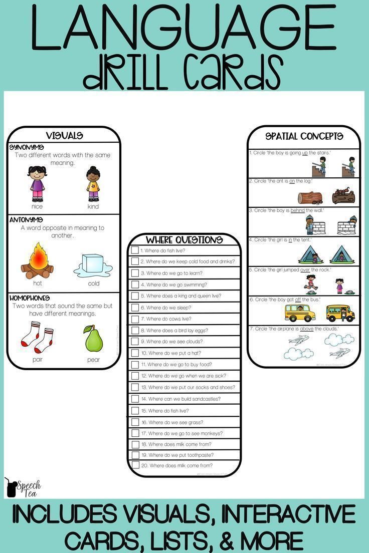 Language Drill Cards With Visuals Language Speech Therapy Speech Therapy Tools Language Therapy Activities Preschool Speech Therapy