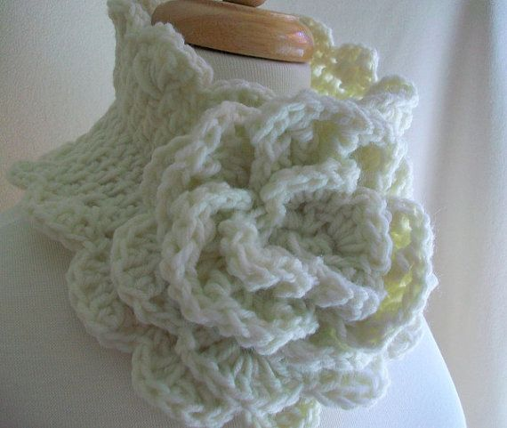 Crocheted Cabbage Rose Trimmed Scalloped Scarflette by needleworx, $30.00: Cabbages Rose, Rose Trim, Cabbage Roses