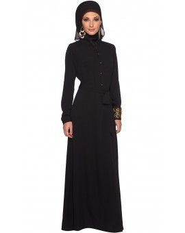 Alima Button Down Long Belted Maxi Dress - Black