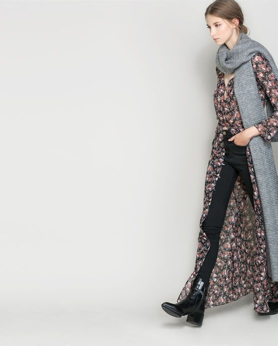 LONG SLEEVE FLORAL DRESS WITH BUTTONS from Zara ( via @Melissa Squires Spivak. french * )