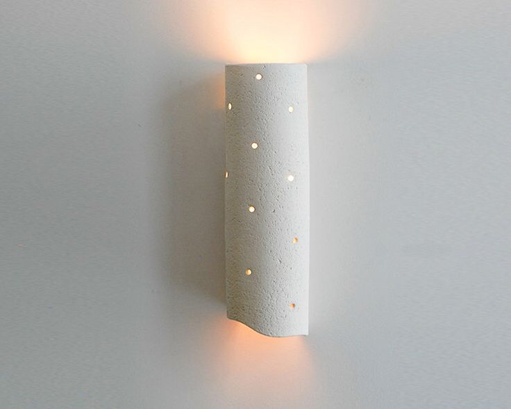 Long ceramic wall light fixture - natural clay wall lamp with a tube shape - OOAK by hamutalbenjoceramics on Etsy https://www.etsy.com/listing/167318196/long-ceramic-wall-light-fixture-natural
