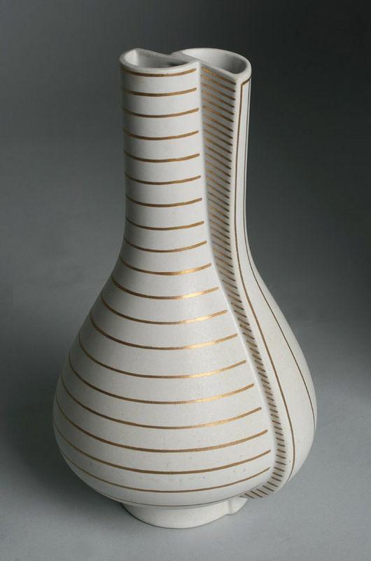 Gustavsberg Vase ~ GULDSURREA ~ Wilhelm Kage / Cubist Surrealist Eames Design