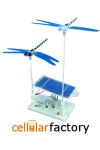 Solar Powered Dragonfly Kit-This easy-to-assemble kit uses a solar cell to drive a sensitive motor that powers a biology-themed display. Two dragonflies flap their wings using this renewable energy source.