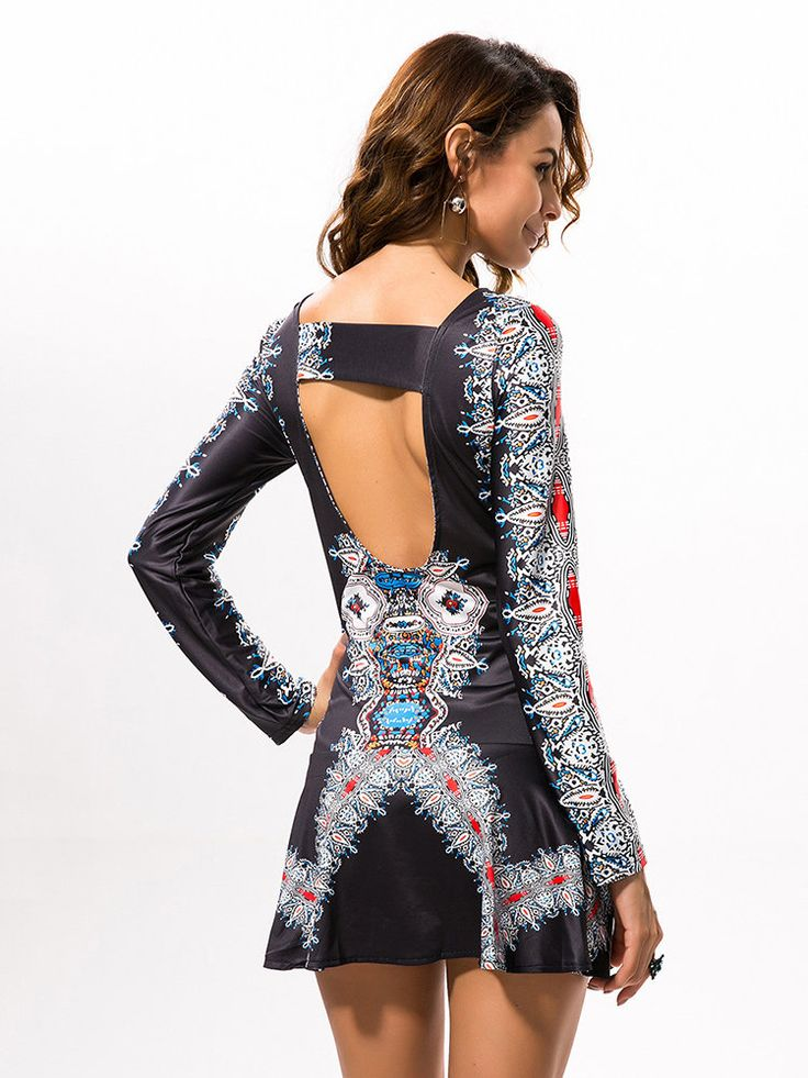 Vintage Print Sexy Backless Long Sleeve O Neck Women Dress