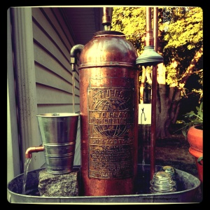 ...just a fire extinguisher fountain, made from scrap copper & some other stuff laying around...