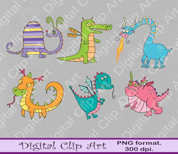 Cute dragons Clip art dragons Clipart Instant by digitalcliparts