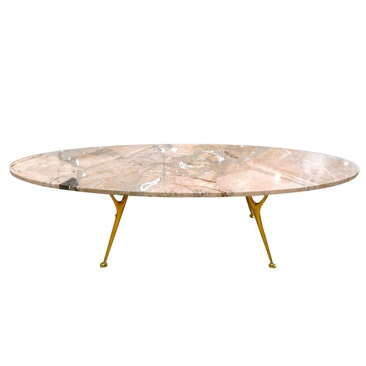 Elliptical Italian Marble Cocktail Table With Cast Brass Legs