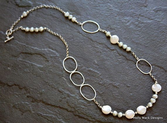 Long handcrafted sterling silver necklace, coin pearls, freshwater pearls, sterling silver beads, sterling silver chain