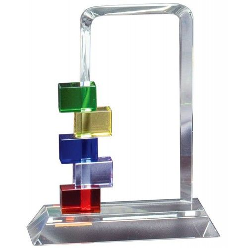 "Our Color Blocks Glass Award features a clear rectangular engraving area with colored blocks.  GL73 is 3.5"" x 7"", GL74 is 4"" x 8.5"", and GL75 is 4.5"" x 10"".  Each includes free personalized engraving."