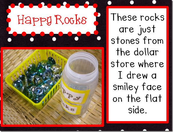 """Use """"Happy Rocks"""" to reward attendance, good behavior, bringing Bible, bringing visitors, etc. If they fill their container, they get a prize or ?"""