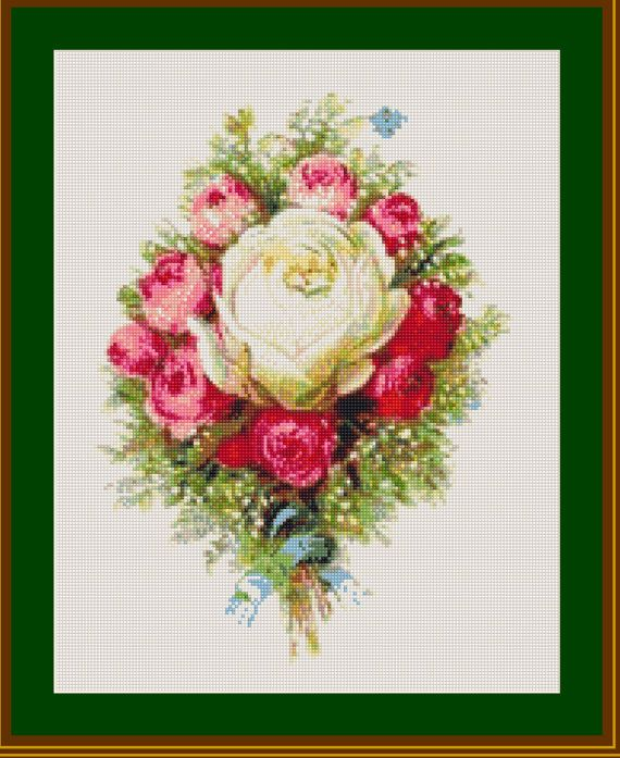 Berlin Woolwork Victorian Rose Bouquet by BissonnetteDryGoods
