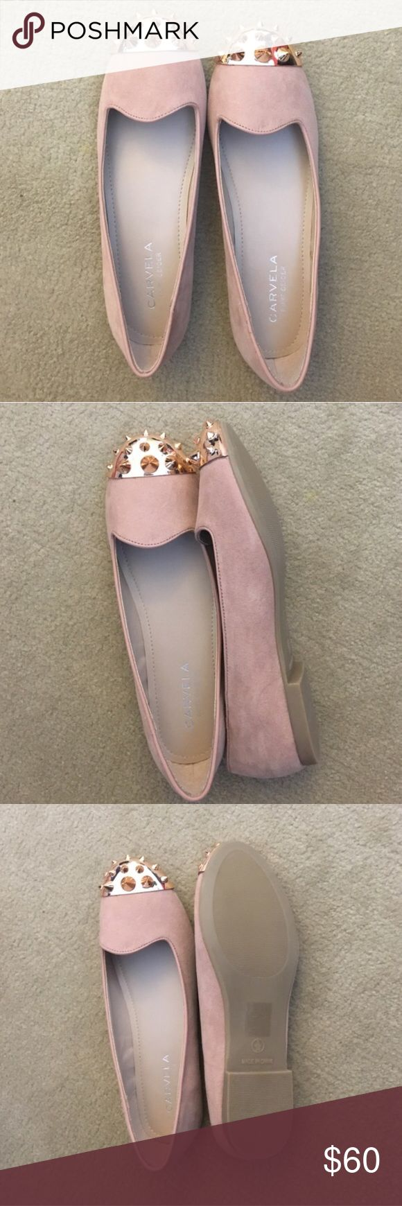 Pink suede studded loafers SO CUTE. never worn, perfect condition. Brand is Carvela but I am tagging as Jeffrey Campbell for exposure (brand/look is very similar) Jeffrey Campbell Shoes Flats & Loafers