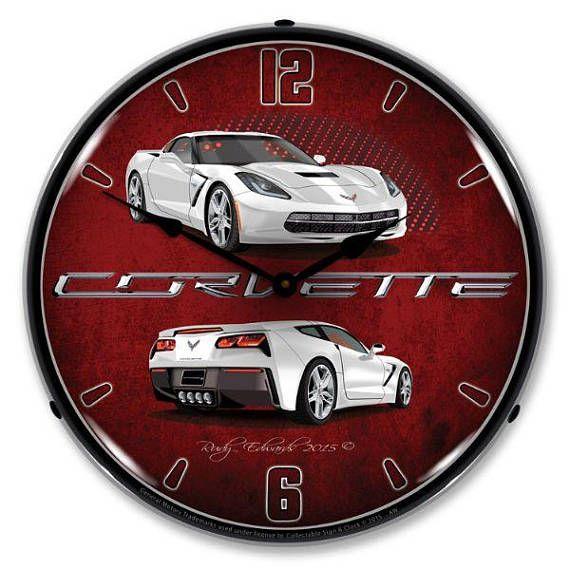 Antique Style C7 Corvette Artic White Backlit Clock 129 99 Wall Clock Light Wall Clock White Clocks