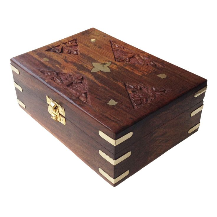Exotic Handcarved Brass Engraved Rectangular Wood Gift Box #Asian #RoyalKraft