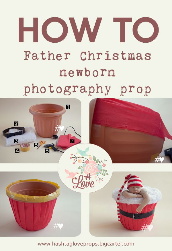 How to make a father christmas newborn bucket photography prop