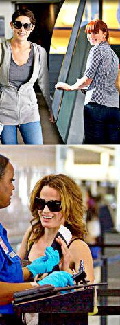 Ashley, Elizabeth & Bryce in Vancouver airport - during Eclipse filming