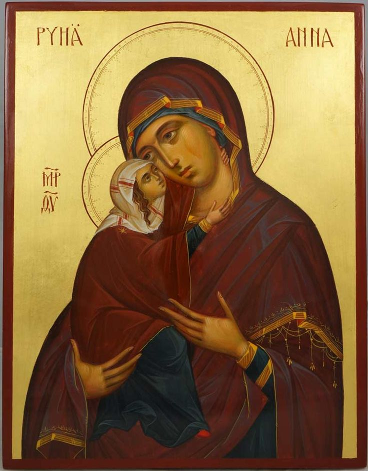 St Anna (Saint Anne; Pyhä Anna) mother of the Theotokos Hand-Painted Orthodox Icon