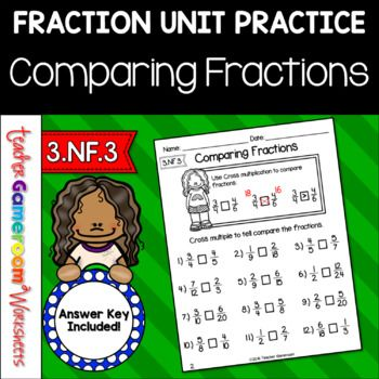 Reinforce fraction skills with this comparing fractions worksheet.  Students practice comparing fractions with different denominators. The numerator ranges from 1 to 12 and the denominator ranges from 2 to 24. There is a visual guide at the top to help those struggling students. There are 12 problems in all. Great for a homework, classwork, or morning work. Extra licenses are $.75.