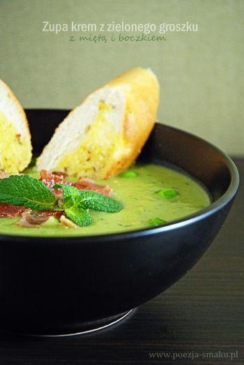 Krem z zielonego groszku z miętą i boczkiem / Green Pea Soup with Mint and Bacon (recipe in Polish)