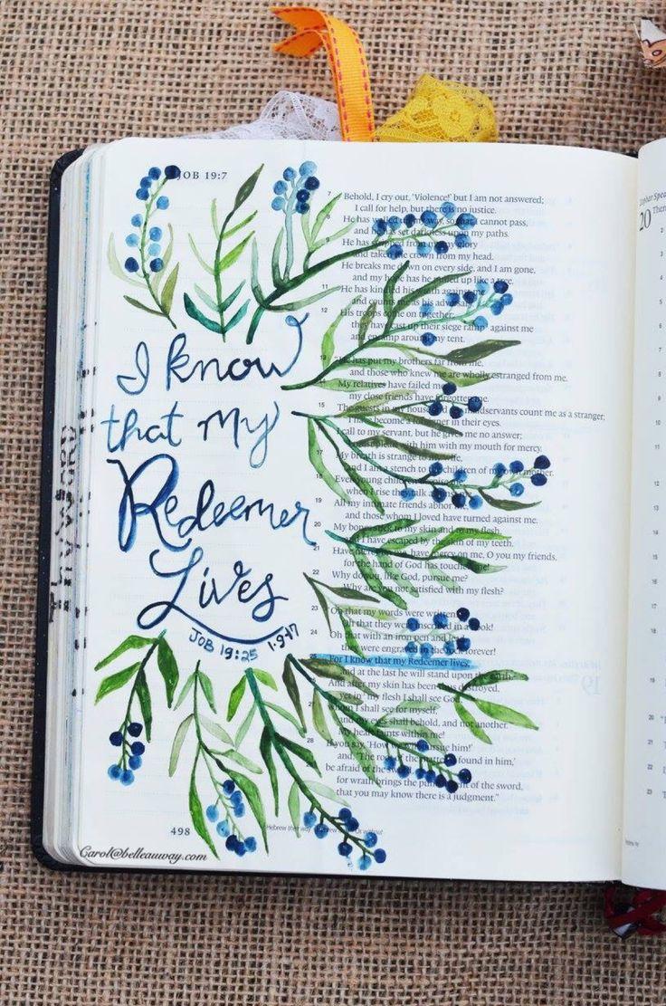 Job 19:25 January 9, 2017 carol@belleauway.com, watercolor, bible art journaling, journaling bible, illustrated faith