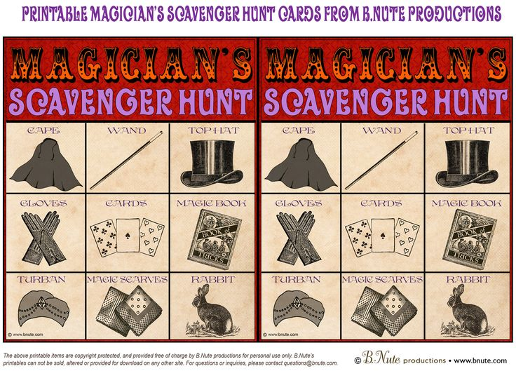 bnute productions: Free Printable Magician's Scavenger Hunt Game