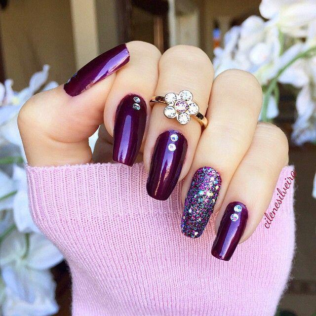 Purple glitter nails Nail Design, Nail Art, Nail Salon, Irvine, Newport Beach