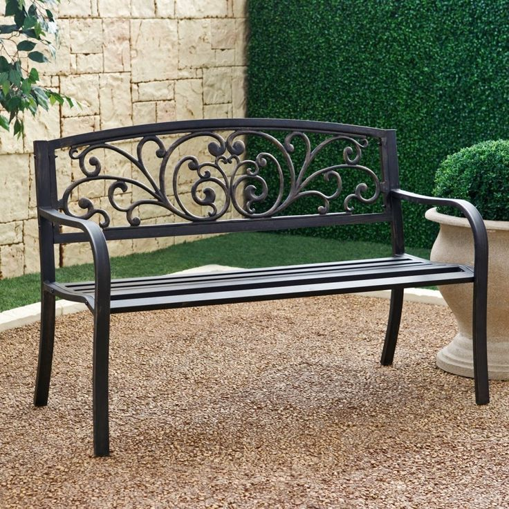 Outdoor Garden Bench With Slatted Seat And Rustic Metal Finish   Hearts  Attic
