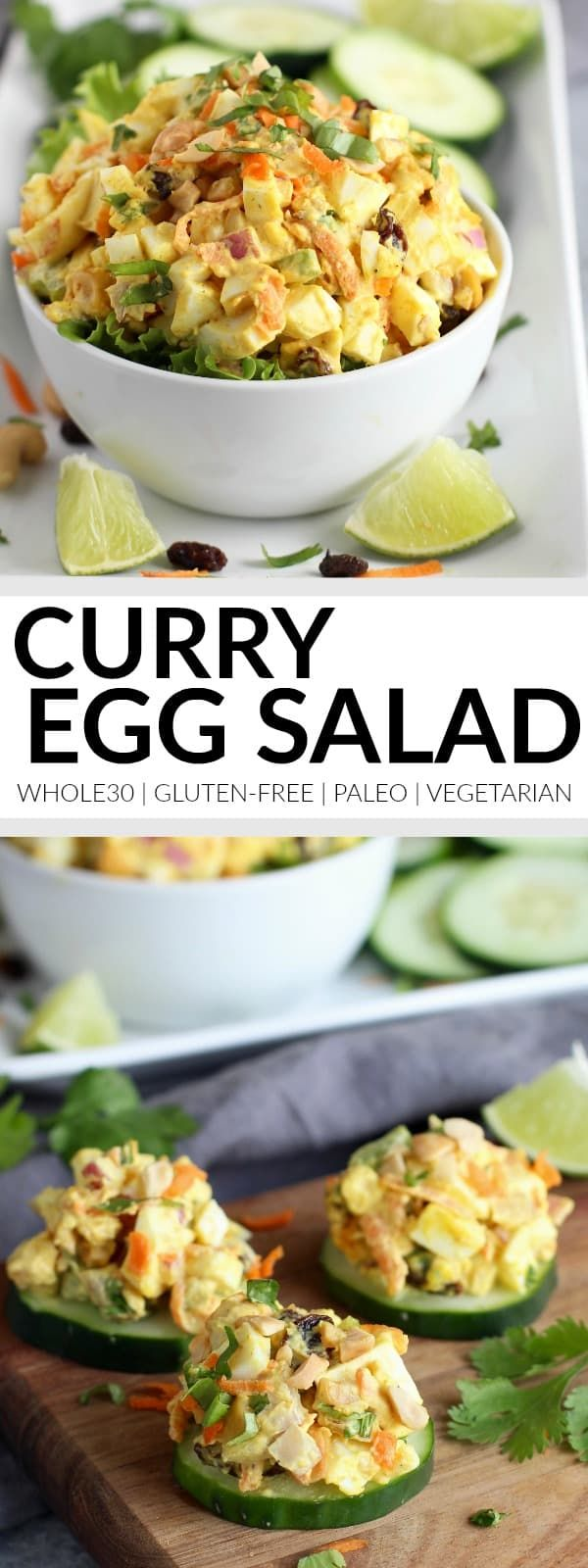 Add a little life to your lunch with this Curry Egg Salad! Serve it on a bed of greens, on top of cucumber slices or tucked tightly in a crisp lettuce leaf for a satisfying and delicious Whole30-friendly lunch.