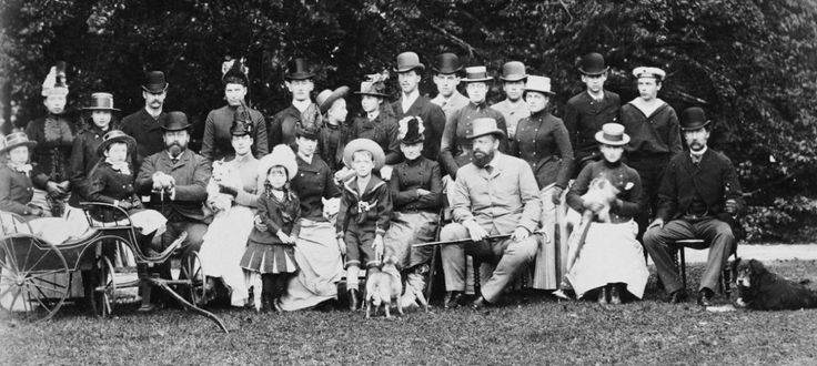 English, Russian, Danish and Greek royalty, ca. 1888Back row: Princess Marie of…