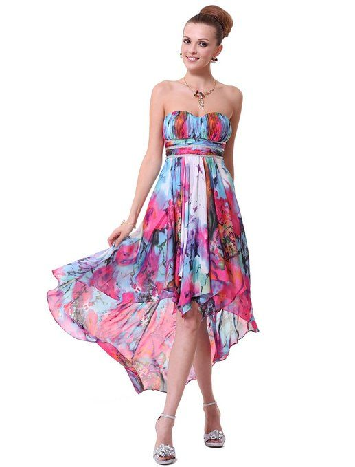 Ever Pretty Padded High Low Printed Empire Waist Ruffles Cocktail Party Dress