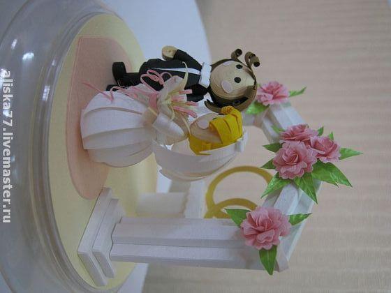 """Миниатюра ручной работы. Ярмарка Мастеров - ручная работа Кукольные миниатюры """"Жених и невеста"""" - квиллинг. Handmade."""