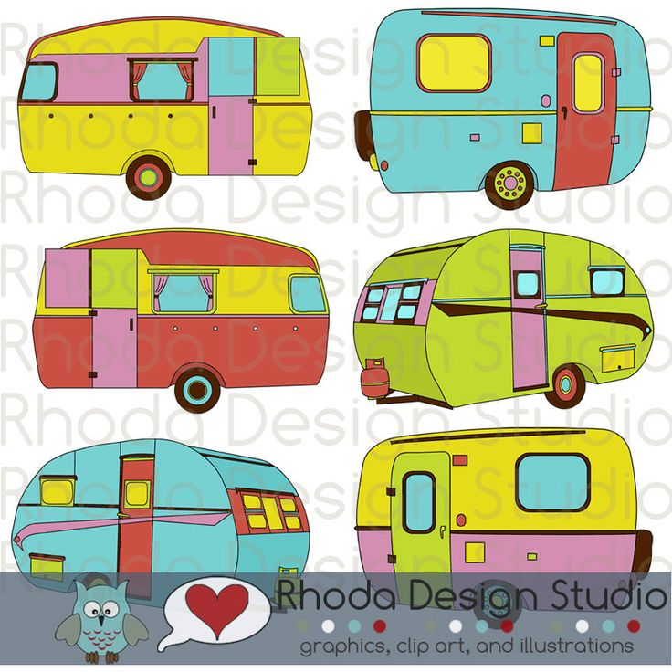 Cheery Sherbet Campers Digital Clip Art Retro By RhodaDesignStudio