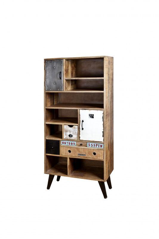 Industrieel/Vintage Boekenkast 2-drs. - 4 laden