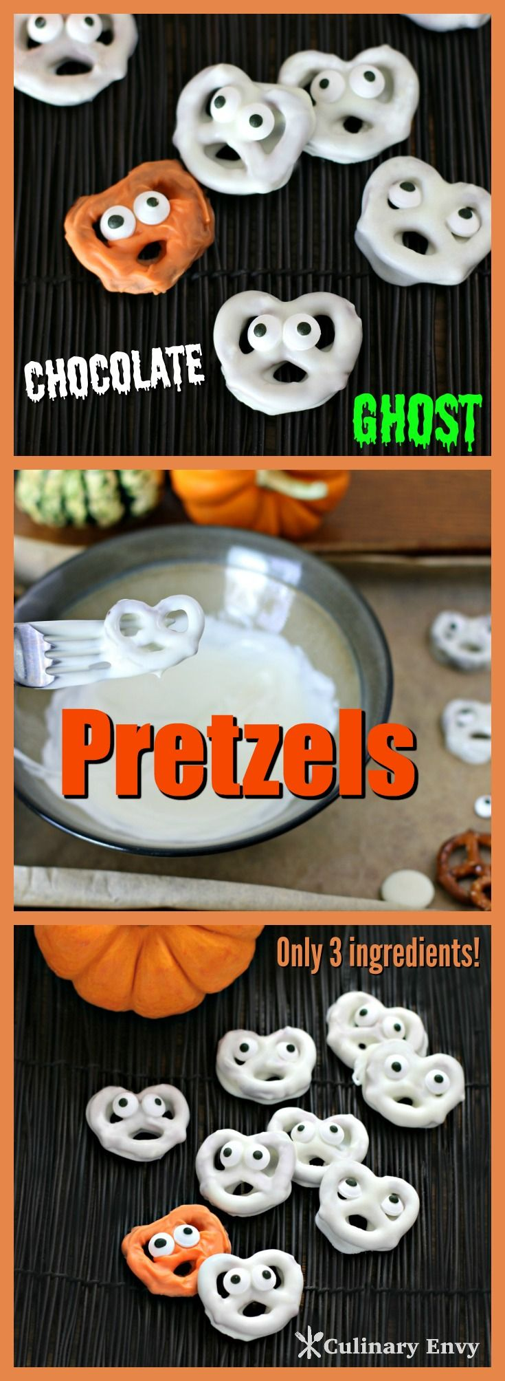 Delicious Chocolate Ghost Pretzels are salty/sweet white chocolate dipped mini pretzels turned into darling little ghosts with candy eyes using only 3 ingredients. It's the perfect (and tastiest) edible Halloween craft for little kids. Click to read more!