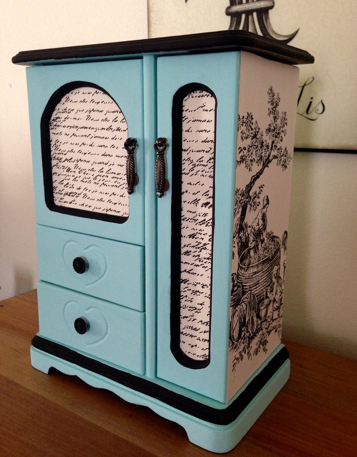 Vintage Wood Jewelry Box Hand Painted Aqua and Decoupaged In French Toile by ColorfulHomeDesigns on Etsy