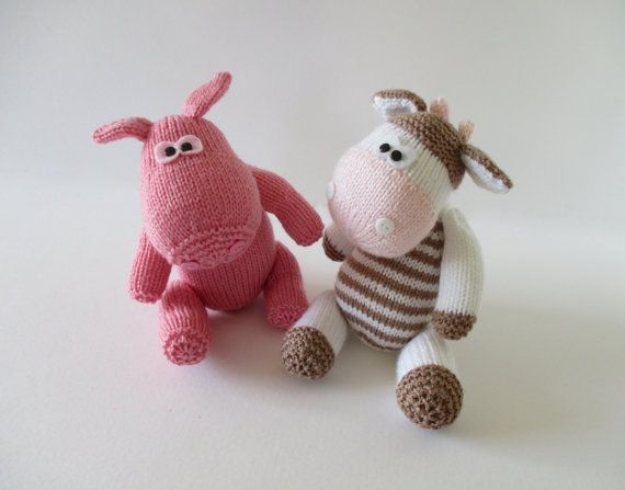 Chutney Cow and Pickles Pig toy knitting patterns